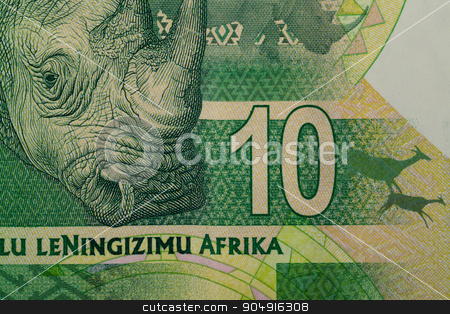 detail of sout african rand stock photo, Detail of rand banknote. South African rands is the national currency of South Africa by Artush