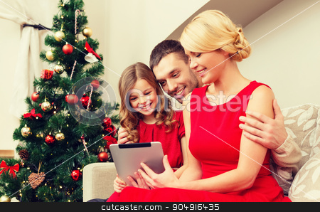 smiling family with tablet pc stock photo, family, christmas, x-mas, technology and people concept - smiling family with tablet pc by Syda Productions