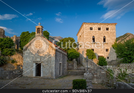 Old Bar fortress buildings at sunset, Montenegro stock photo, Bar town fortress church of St Jovan and museum tower. Evening warm light, Montenegro by Alexander Nikiforov