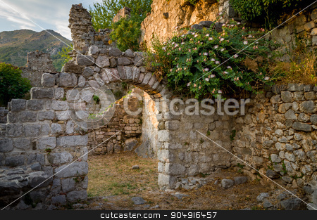Ancient fortress arch way and ruined walls stock photo, Ancient stone arch and ruined walls of Old Bar fortress. Bar, Montenegro by Alexander Nikiforov