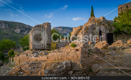 Ruins of Old Bar medieval fortress stock photo, Ruins of Old Bar medieval fortress at evening summer sun. Popular touristic route. Montenegro by Alexander Nikiforov