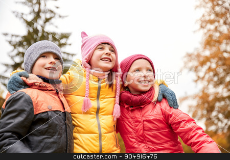 group of happy children hugging in autumn park stock photo, childhood, leisure, friendship and people concept - group of happy kids hugging in autumn park by Syda Productions