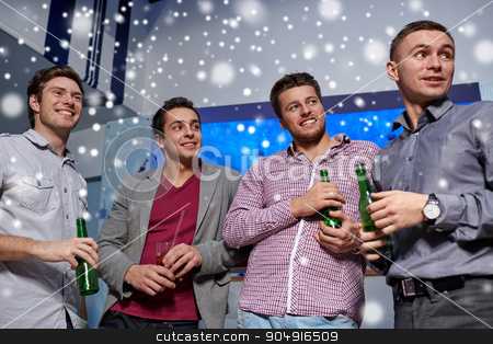 group of male friends with beer in nightclub stock photo, nightlife, party, friendship, leisure and people concept - group of smiling male friends with beer bottles drinking in nightclub and snow effect by Syda Productions