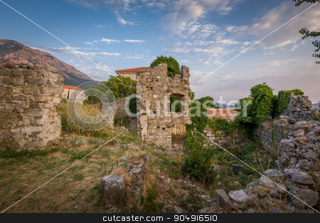 Ruins of Old Bar fortress tower with windows stock photo, Ruins of medieval fortress tower with windows and destroyed fortification stone walls. Bar, Montenegro by Alexander Nikiforov