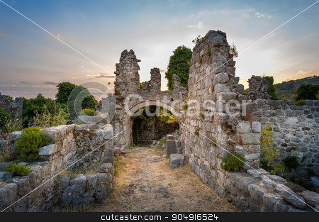Ruins of Stari Bar fortress stock photo, Ruins of Stari Bar ancient fortress, arch way to ruined defense tower, Montenegro by Alexander Nikiforov