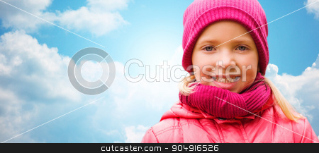 happy beautiful little girl portrait over blue sky stock photo, autumn, childhood, happiness and people concept - happy beautiful little girl portrait outdoors over blue sky background by Syda Productions