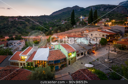Old Bar touristic shops street view from fortress tower stock photo, Touristic street of Old Bar late evening view from medieval fortress tower. Bar, Montenegro by Alexander Nikiforov