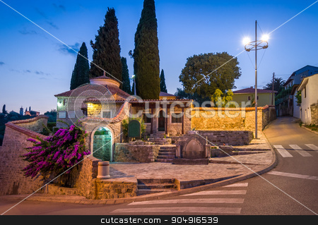 Old Bar night streets stock photo, Old Bar night street view with stone mosque entrance buildings at touristic center of a town. Bar, Montenegro by Alexander Nikiforov
