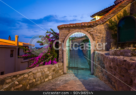 Old style stone gate at midnight stock photo, Old style stone gate docorated by flowers at late evening lightning. Stari Bar touristic center, Montenegro by Alexander Nikiforov