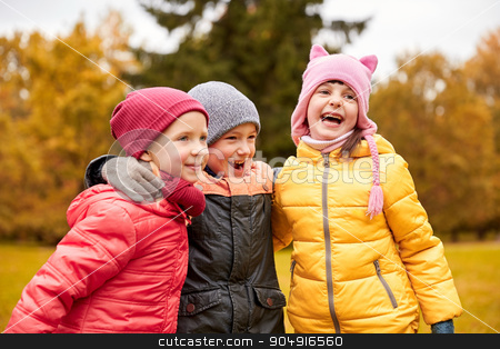 group of happy children hugging in autumn park stock photo, childhood, leisure, friendship and people concept - group of happy kids hugging and laughing in autumn park by Syda Productions