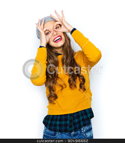 happy young woman or teen girl having fun stock photo, people, style and fashion concept - happy young woman or teen girl in casual clothes and hipster hat having fun by Syda Productions