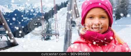 happy beautiful little girl over winter background stock photo, childhood, winter holidays, vacation and people concept - happy beautiful little girl portrait over swing and snowy mountains background by Syda Productions