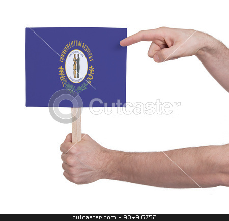 Hand holding small card - Flag of Kentucky stock photo, Hand holding small card, isolated on white - Flag of Kentucky by michaklootwijk