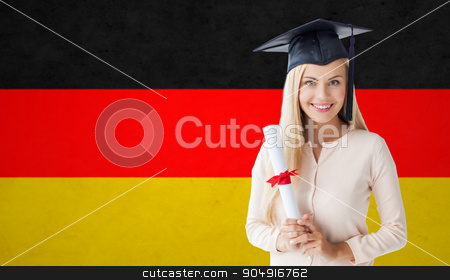 happy student girl in bachelor cap with diploma stock photo, people, graduation, school and education concept - happy student girl in bachelor cap with diploma over german flag background by Syda Productions