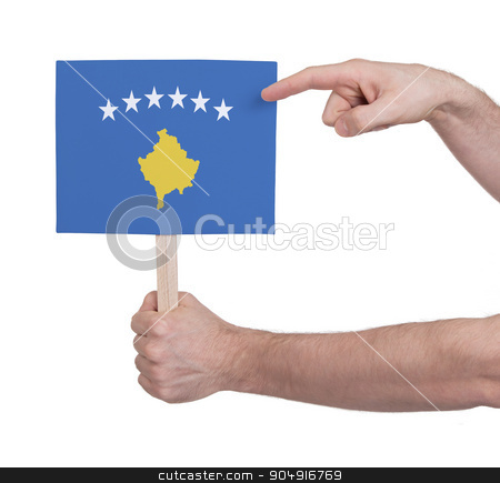Hand holding small card - Flag of Kosovo stock photo, Hand holding small card, isolated on white - Flag of Kosovo by michaklootwijk