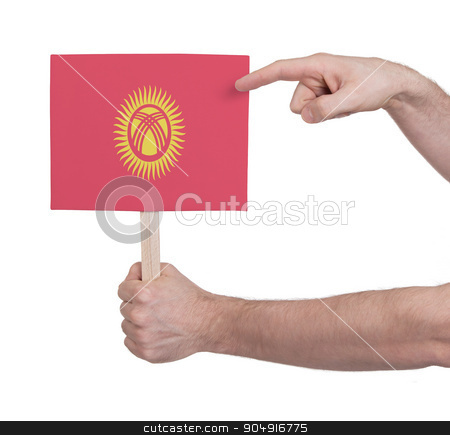 Hand holding small card - Flag of Kyrgyzstan stock photo, Hand holding small card, isolated on white - Flag of Kyrgyzstan by michaklootwijk