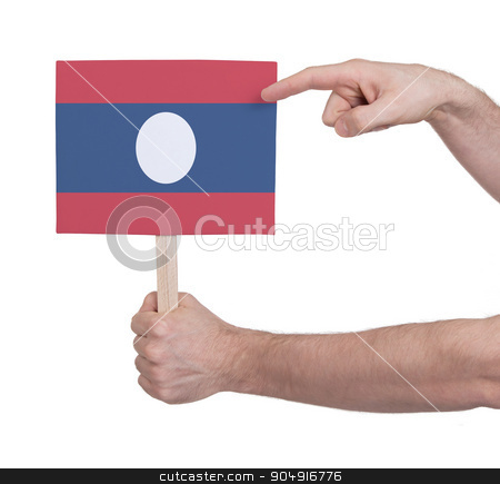 Hand holding small card - Flag of Laos stock photo, Hand holding small card, isolated on white - Flag of Laos by michaklootwijk