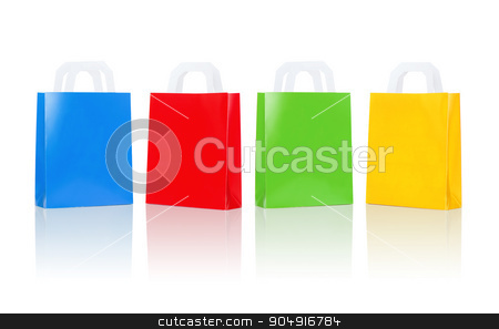 many blank colorful shopping bags stock photo, sale, consumerism, advertisement and retail concept - many blank colorful shopping bags by Syda Productions