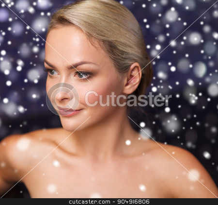 close up of young woman at bath or sauna stock photo, people, beauty, spa, healthy lifestyle and relaxation concept - close up of beautiful young woman at bath or sauna with snow effect by Syda Productions