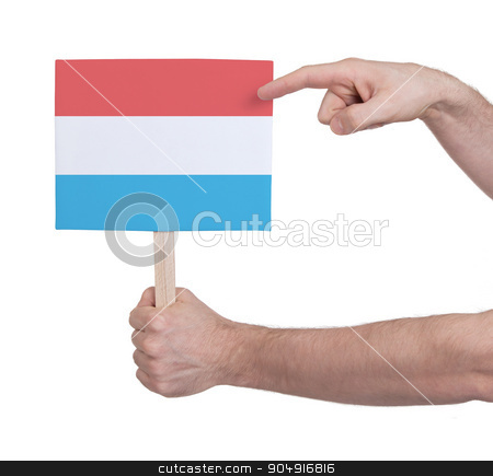 Hand holding small card - Flag of Luxembourg stock photo, Hand holding small card, isolated on white - Flag of Luxembourg by michaklootwijk