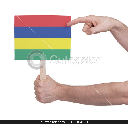 Hand holding small card - Flag of Mauritius stock photo, Hand holding small card, isolated on white - Flag of Mauritius by michaklootwijk