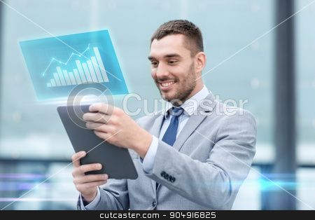 smiling businessman with tablet pc outdoors stock photo, business, development, technology and people concept - smiling businessman working with tablet pc computer and virtual growth chart on city street by Syda Productions