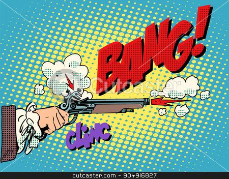 Duel shot pistol stock vector clipart, Duel shot pistol pop art retro style. Antique weapons. The nobles honor offense aristocracy. Murder bang clinc by studiostoks
