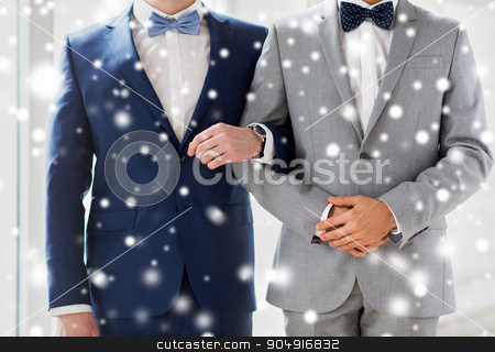 close up of happy male gay couple holding hands stock photo, people, homosexuality, same-sex marriage and love concept - close up of happy male gay couple holding hands on wedding over snow effect by Syda Productions