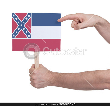 Hand holding small card - Flag of Mississippi stock photo, Hand holding small card, isolated on white - Flag of Mississippi by michaklootwijk