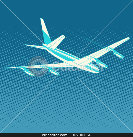 airplane flight travel tourism stock vector clipart, airplane flight travel tourism pop art retro style. Transportation for flights and trips. Technology and success by studiostoks