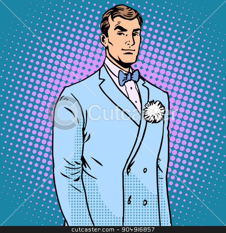 The groom in a wedding suit stock vector clipart, The groom in a wedding suit pop art retro style. The flower in the buttonhole. Handsome man by studiostoks