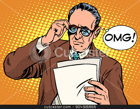 OMG surprised boss business concept stock vector clipart, OMG surprised boss business concept pop art retro style. An elderly man reads the documents. News, and facts. Unpleasant event by studiostoks