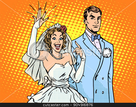 Wedding groom and happy bride stock vector clipart, Wedding groom and happy bride pop art retro style. A woman and a gold wedding ring. Love and relationships men and women by studiostoks