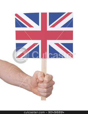 Hand holding small card - Flag of the UK stock photo, Hand holding small card, isolated on white - Flag of the UK by michaklootwijk