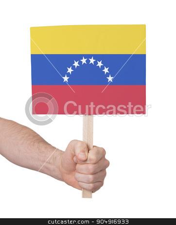 Hand holding small card - Flag of Venezuela stock photo, Hand holding small card, isolated on white - Flag of Venezuela by michaklootwijk