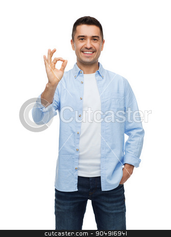 smiling man showing ok hand sign stock photo, happiness, gesture and people concept - smiling man showing ok hand sign by Syda Productions
