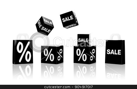 shopping bags and sale signs with percent  stock photo, shopping, retail and black friday concept - set of boxes and shopping bags with sale and percent sign by Syda Productions