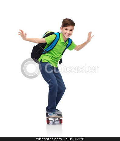 happy student boy with backpack and skateboard stock photo, childhood, leisure, school and people concept - happy smiling student boy with backpack riding on skateboard by Syda Productions