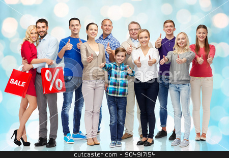 group of happy people showing thumbs up stock photo, gesture, sale, discount, generation and people concept - group of happy people showing thumbs up and couple with shopping bags by Syda Productions
