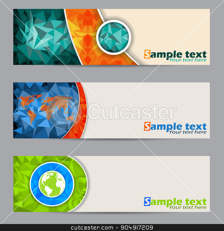 Cool banners with abstract geometrci shapes stock vector clipart, Cool banner set of three with abstract geometrci shapes by Mihaly Pal Fazakas