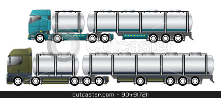 Commercial tankers with dromedary tractors stock vector clipart, Commercial tanker vehicles with dromedary tractors and their trailers by Mihaly Pal Fazakas