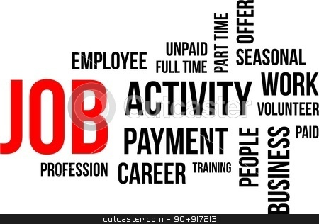 word cloud - job stock vector clipart, A word cloud of job related items by Amir Zukanovic
