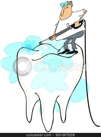Man cleaning a large tooth stock photo, Illustration depicting a man using a pressure washer to clean a large molar. by Dennis Cox