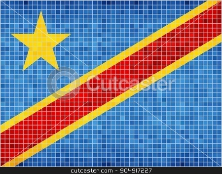 Flag of the Democratic Republic of the Congo stock vector clipart, Congo Flag - Illustration,  Abstract Mosaic Flag of Congo,  Grunge mosaic Congo Flag,  Abstract grunge mosaic vector by Jugoslav