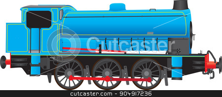 Industrial Steam Locomotive stock vector clipart, A Blue Industrial Steam Locomotive isolated on white by d40xboy