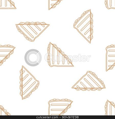 club sandwich outline seamless pattern stock vector clipart, vector brown gold color outline club sandwich seamless pattern on white background  by Alexey Kurenkov