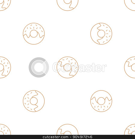 donuts outline seamless pattern stock vector clipart, vector brown gold color outline donuts seamless pattern on lwhite background  by Alexey Kurenkov