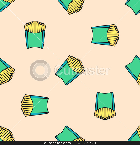 french fries colored seamless pattern stock vector clipart, vector colored outline french fries potato green pack seamless pattern on light red background  by Alexey Kurenkov