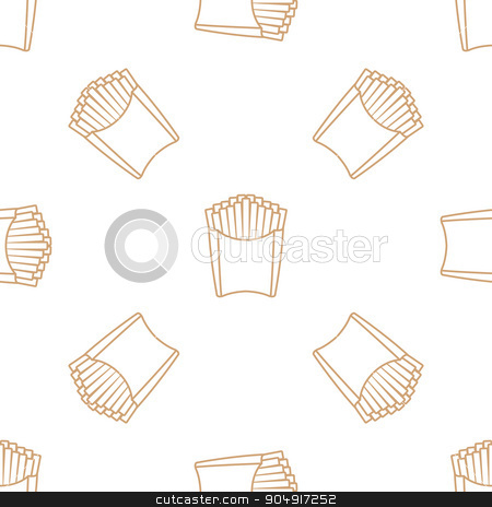 french fries outline seamless pattern stock vector clipart, vector brown gold color outline french fries potato paper pack seamless pattern on white background  by Alexey Kurenkov