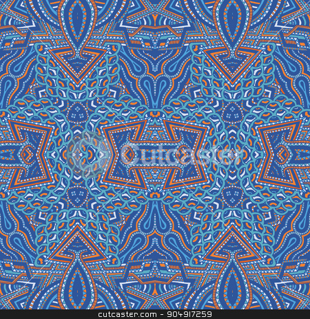 colored hand drawn psychedelic zentangle pattern stock vector clipart, vector blue red cyan colored hand drawn abstract psychedelic zentangle seamless pattern illustration   by Alexey Kurenkov